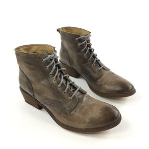 Frye Carson Lace-Up Boots Brown Leather Military